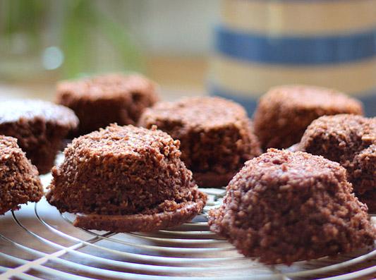 Chocolate hazelnut lamingtons with raspberry jam