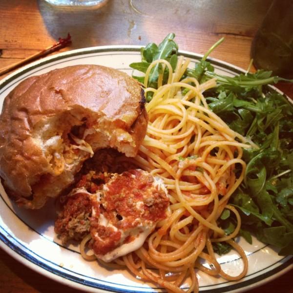 Balls on Spaghetti & Brioche