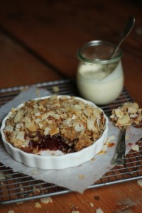 Qunice, Coconut and Roasted Almond Crumble