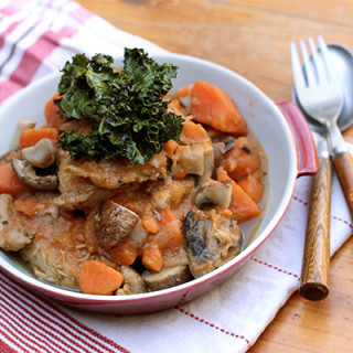 French Cider Chicken Stew with Kale Chips
