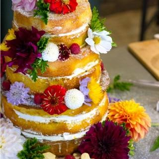 Naked Wedding Sponge Cake with Passionfruit Curd and Fresh Cream